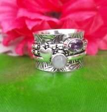 Rainbow Moonstone Ring 925 Sterling Silver Spinner Ring Meditation Ring Size a7