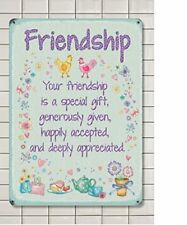 Friendship , Colourful Metal  Hanging Sign, 20cm x 15cm