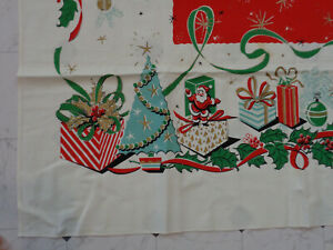 VTG Christmas Tablecloth Mid Century Awesome Graphics Turquoise Tree 64x52 #6