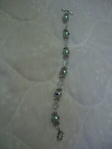"""Handmade Silver Tone, Clear & Multi-color Dolphin Beads Toggle Bracelet/8"""" Long"""