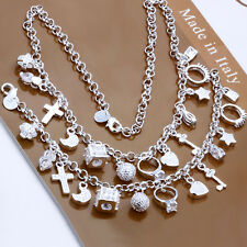 "Fashion CROSS KEY 13 Charms Lady's Accessories Necklace+Bracelet Set (8,18"")"