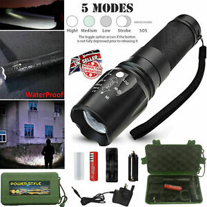 T6 LED Torch 9000LM Police Flashlight Super Bright Powerful Zoom Camping Lamp