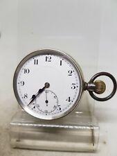 Antique solid silver gents Syren pocket watch 1920 working ref1014