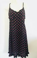 VINTAGE 1990's CUTE OPTIONS BLACK SLIP DRESS RED FLORAL SIZE S RAYON INDIA BOHO