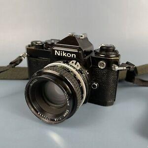 Classic Nikon FE 35mm SLR Camera + 50mm 1.8 Lens + Strap