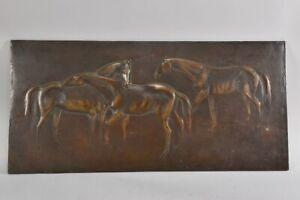 g92b48- Metallrelief Pferde