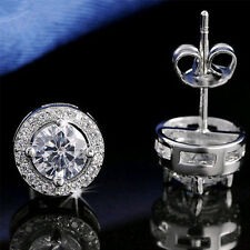 LC_ Round Crystal Ear Stud CZ Cubic Zircon Silver Plated Wedding Earrings Dazz
