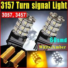3157 Dual Color Switchback White/Amber SMD 60 LED Turn Signal Corner Light Bulbs