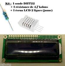 Kit sonde DHT22 + résistance 4,7kohms + écran LCD 1602 JAUNE Arduino DIY E263