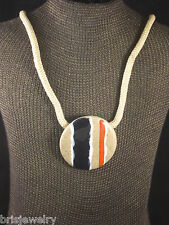 Cool One Of A Kind Handmade Ceramic Necklace & Earring Set Blue Beige White Red