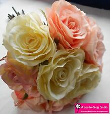 ARTIFICIAL SILK FLOWERS LUXURY ROSE BUNCH OR WEDDING BOUQUET PINK AND CREAM