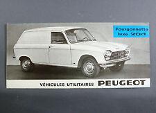 BROCHURE PUBLICITAIRE PEUGEOT 204 FOURGONNETTE LUXE AUTOMOBILE DEPLIANT 1966 CAR