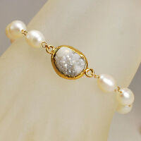 Freshwater Pearl & Druzy Agate Pendant Bracelet with Gold Filled Chain 7.5""