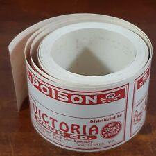 Ephemera Label 100 Poison skull crossbones red Rexall Victoria VA Drug