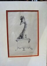 "Signed Francisco McBride Pen and ink drawing ""Giraffe's Need Baths Too"" Ca. 1970"