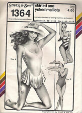 "Stretch and Sew Pattern 1364, Swimsuit 3 Styles, Costume, Bust 30 - 46"", Uncut"