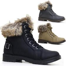 LADIES WOMENS COMBAT ARMY MILITARY BIKER FLAT LACE UP WINTER ANKLE BOOTS SIZE