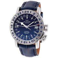 Glycine Men's 3918.18.LBK8 Airman 18 GMT Automatic Blue Dial Blue Leather Watch