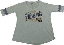 Knights Apparel Womens Size Large LSU Tigers V-Neck Team T-Shirt, Grey