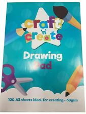 Craft and Creat A3 Sketch Drawing Pad, Art & Craft, 100 Sheets 60 GSM Brand New