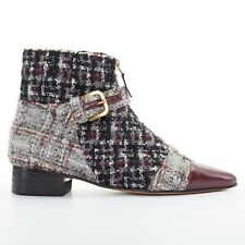new CHANEL grey tweed red pointed toe cap zip buckle ankle bootie shoe EU35.5C