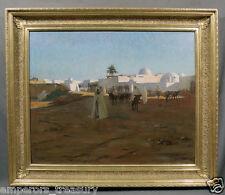 "Robert Van Vorst Sewell (American) Arab Oil Painting ""Tunisian Village, 1887"""