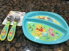 New set/2 First Years Disney Baby WINNIE THE POOH Divided plate,Fork, Spoon