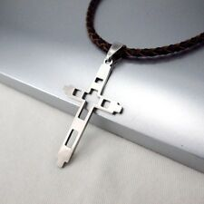 Silber Edelstahl Kreuz Anhänger Braun Leder Halskette Geflochten Surfschmuck