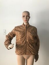 Marcia Collection Italy Tan Brown Ruched Leather Jacket Stand Collar Zippered M