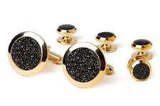 New Black Diamond Dust Gold Plated Cufflinks studs Retail Gift Boxed set TUXXMAN