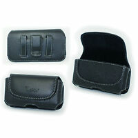 Black Leather Case Pouch Belt Holster with Clip/Loop for Tracfone LG 442BG