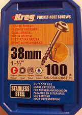 KREG Edelstahl-Taschenlochschrauben Terrassenbau V2A 100er Pack Nr. 8 x 38,1 mm