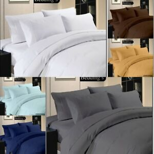 HIGHEST THREAD COUNT Low Price 800-1000-1200 TC Fitted/Flat/Duvet Set in Solid