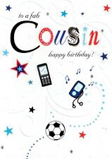 Fab Cousin Happy Birthday Card Glitter Flittered Greeting Cards