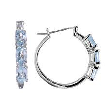 3 Stones Oval Shape Genuine Blue Topaz Rhodium Plate Brass Huggie Earrings