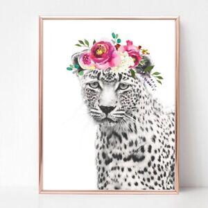 leopard print PICTURE flower garland WALL ART A4  unframed 22 pink