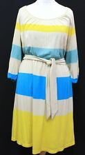 JUICY COUTURE Ladies Tan, Yellow, Blue & Teal Striped Silk Blend Dress Size M