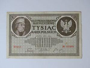 ➤ Banknote 1000 Marek Polskich Mark Tysiac 1919 Poland, III Ser.C. Nr. 644004 ➤