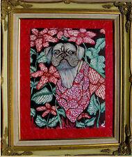 """Original Dog Painting W/Frame-Pug by DEDE SHAMEL Listed Artist 22""""x26"""" NICE"""