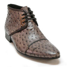 Fiesso Men's Gray/Taupe Ostrich Quill Print Leather Dress Ankle Boots Size 8