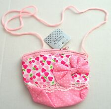 NEW Childrens baby pink heart print spotted bow purse handbag long cord fashion