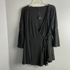 Torrid Size 1 Top Women's Plus Solid Black Lace 3/4 Sleeve Wrap Top