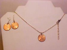 W-126 ORIGINAL REAL COPPER PENNY COIN MONEY EARRINGS -NECKLACE. SHIPPED FROM USA