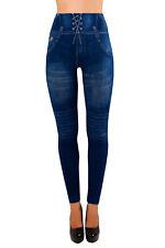 Damen Jeggings High Waist Leggings Hochbund Jeansoptik Blau 36-38-40-42 Sterne