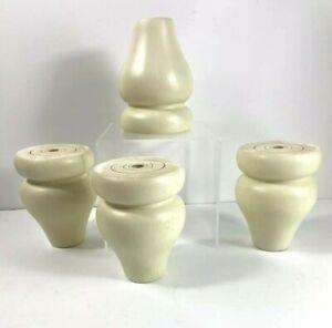 Set of 4 Bun Feet Furniture Parts Ashley Cottage Retreat Light Cream