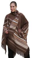 Ethnic Natural Alpaca Wool Poncho Cape Cloak with matching Scarf Brown One Sz