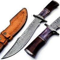 Handmade Damascus Steel 15 Inches Bowie Knife - Solid Marindi Wood/Bone Handle