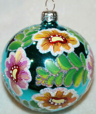 "EUC Christopher Radko Glass Ball Christmas Ornament ~ Stafford Floral ~ 4"" ~"