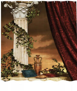 Gothic Shower Curtain Greek Scenery Sunset Print for Bathroom 70inches