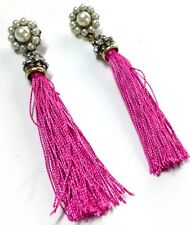 Fashion Party Rhinestone Red Tassels Silk Yarn Pearl Dangle Ear Stud Earring